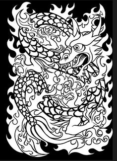 1000 images about japanese tattoo art on pinterest for Japanese art coloring pages