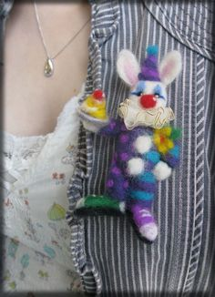 Felted Clown Bunny Rabbit Needle Felted Circus by Mythillogical, £18.50