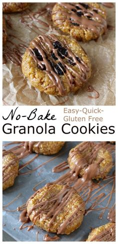 No Bake Granola Cookies- No flour, no butter or oil! 10 minutes and 5 ingredients is all it takes for these tasty cookies. #glutenfree