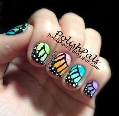 Rainbow Butterfly Wing Nails <3