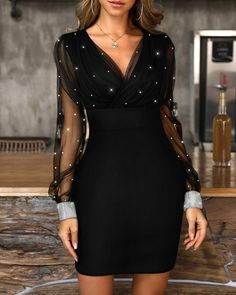 Glitter Mesh V-Neck Party Dress - - Style:Sexy Pattern Type:Glitter/Patchwork Material:Polyester Neckline:V-Neck Sleeve Style:Long Sleeve Length:Mini Occasion:Party Package Dress Note: There might be difference accordi… Source by Short Dresses, Prom Dresses, Formal Dresses, Sexy Dresses, Summer Dresses, Wedding Dresses, Mini Dresses, Dresses Uk, Elegant Dresses