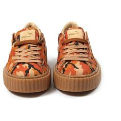 Puma Womens Suede Creepers Camo Rihanna (Orange/Orange) ($150) ❤ liked on Polyvore featuring shoes, camouflage footwear, lace up shoes, suede leather shoes, camo print shoes and orange shoes