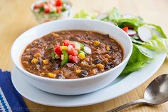 Vegan Smoky Refried Bean Soup, w/ black beans, corn, onion, green bell pepper, vegetable broth, diced tomatoes, cumin and paprika
