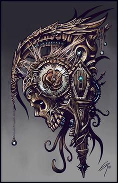 Time by on DeviantArt – skull tattoo sleeve Aztec Tattoo Designs, Skull Tattoo Design, Gas Mask Art, Masks Art, Indian Skull Tattoos, Mexican Art Tattoos, Totenkopf Tattoos, Skull Pictures, Dark Art Drawings