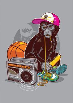 Known as JrDragao in dA, JrDragao is a Rio de Janeiro, Brazil based illustrator. JrDragao has an eye of creativity in his illustration art. Art And Illustration, Illustrations Posters, Arte Do Hip Hop, Hip Hop Art, Monkey Art, Pet Monkey, Monkey Style, Banana Art, 3d Art