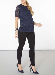 Womens **Maternity Navy Floral Lace Front T-Shirt- Navy