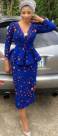 Blue Star African Print Two-Piece Top and Midi Skirt. Blue Star African Print Two-Piece Top and Midi Skirt. African Fashion Ankara, African Print Dresses, African Print Fashion, Africa Fashion, African Dress, Fashion Prints, Fashion Design, African Prints, Nigerian Fashion