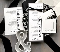 Urban Elegance - Modern Wedding Menus, Table Number, Place Cards - Purchase to Start the Ordering Process. via Etsy.