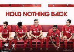 Raheem Sterling (second right) models Liverpool's new kit alongside (left-to-right) Adam Lallana, Daniel Sturridge, Jordan Henderson and Philippe Coutinho