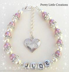 Personalised Crystal Charm Bracelet Bride Bridesmaid Flower girl Wedding Gift   eBay