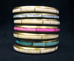 7 Vintage Mother of Pearl Nacre Brass Metal Bangle Bracelets Costumer Jewelry by MermeowTreasures