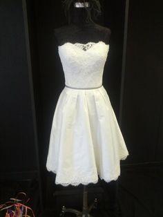 Short Lace Silk Wedding Dress / Knee Length Wedding Dress / Short Reception Dress on Etsy, $749.00