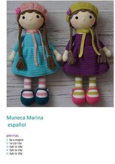 Muñeca Marina amigurumi con patrón - Mundo Doll Crochet Elephant, Crochet Bunny, Cute Crochet, Crochet Toys, Crochet Amigurumi Free Patterns, Crochet Doll Pattern, Crochet Disney, Amigurumi Doll, Teddy Bear