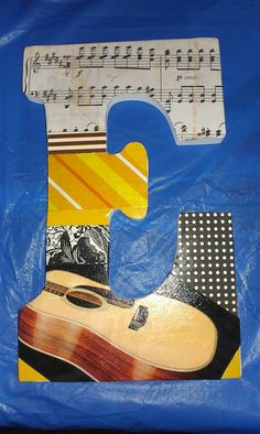 guitar themed collage letter
