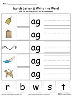AG Word Family Match Letter and Write the Word in Color