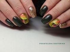 Екатерина Подателева Cute Acrylic Nails, Glitter Nails, My Nails, Autumn Nails, Fall Nail Art, Nail Art Instagram, Celebrity Nails, Finger, Flower Nails