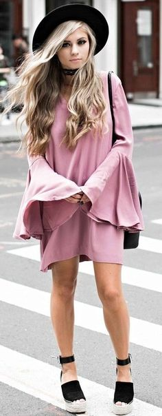 #fall #street #style | Pink Dress + Pop Of Black