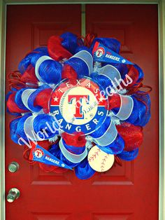 Texas Rangers Deco Mesh Wreath by WorldofWreaths on Etsy, $100.00