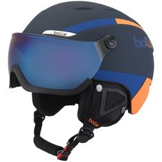 Bolle Navy and Orange with Grey Blue Visor Ski Helmet Cosplay Helmet, Ski Helmets, Snowboarding Gear, Orange, Headgear, Bicycle Helmet, Kayaking, Blue Grey, Perfect Fit