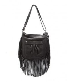 """Jessie Convertible Crossbody Black $198.00 A free-spirited fringe bag for the free-spirited girl. Easy-breezy fringe detail with a padded shoulder-strap that can be adjusted from Shoulder Bag to Crossbody. Two pockets on the outside, plus three inside. Metal zipper opening for added security.  •100% Exclusive Casual Crystal leather •Custom shiny silver hardware •Branded metal oval hanger  •Aimee Kestenberg logo jacquard lining •10""""W x 2.5""""D x 10.5""""H •Shoulder Bag handle drop – 12"""""""