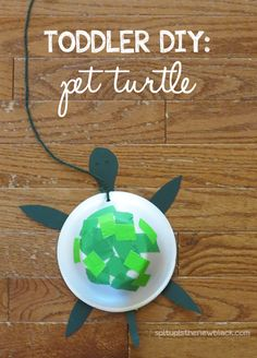 Super easy toddler #DIY! Takes less than 5 minutes to make a little buddy for your little buddy #turtle