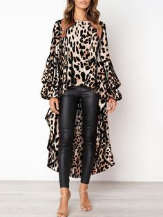 PickYourLook Leopard Print Long Sleeve Ladies Tops Irregular Ruffles Shirts Womens Tops and Bouses Blusas Mujer De Moda Blouse Leopard Print Outfits, Leopard Blouse, Leopard Print Shoes, Leopard Prints, Cheetah, Look Fashion, Womens Fashion, Winter Fashion, Fashion Site