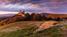 last sunrays at Cachtice Castle by Ľuboš Balažovič Medieval Castle, Landscape Photos, Monument Valley, Wolves, Castles, Nature, Photograph, Travel, Eyes