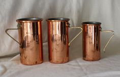 Revere Ware Set of 3 Nesting Copper Measuring Cups with Brass Handles by ChimoTreasures on Etsy