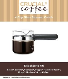 Universal Fit 4 Cup Glass Espresso Carafe *** Click image for more details.