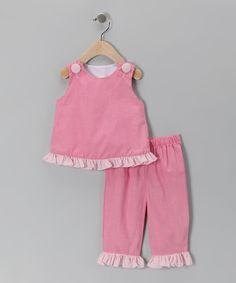 I've made one similar with patterns McCall's 5416 and 4006.would be cute in the new bright pink and greens. Pink Gingham Ruffle Tank & Pants - Toddler & Girls Sweet Teas Children's Boutique $28.99