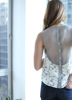 Sheer Back Button Down