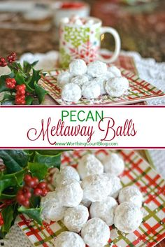 Pecan Balls Recipe for Pecan Meltaway Balls Christmas CookiesRecipe for Pecan Meltaway Balls Christmas Cookies Christmas Snacks, Christmas Cooking, Christmas Goodies, Christmas Candy, Food Gifts For Christmas, Christmas Appetizers, Kids Christmas, Yummy Cookies, Holiday Cookies