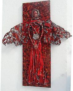 ednahandmade / anjel na plátne (tmavšia červená)