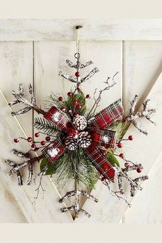 Add some holiday cheer to your door with this snowflake wreath.