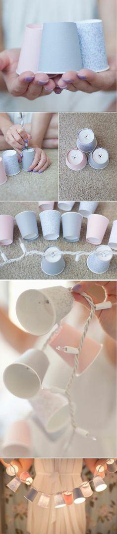 Usando pisca-pisca de forma diferente - com copos de papel/plástico