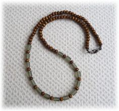 Men's Necklace - Wood and frosted glass beads - Handmade Jewelry £16.95