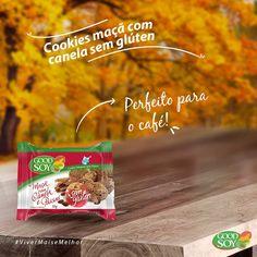 Os Cookies Integrais de Soja Maçã com Canela e Passas sem Glúten sem Lactose da GoodSoy são perfeitos para acompanhar seu café!