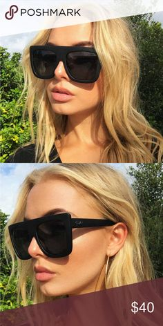 1ec279ce304af Quay Cafe Racer Sunglasses Kylie Jenner Black Dramatically oversized  featuring a straight brow