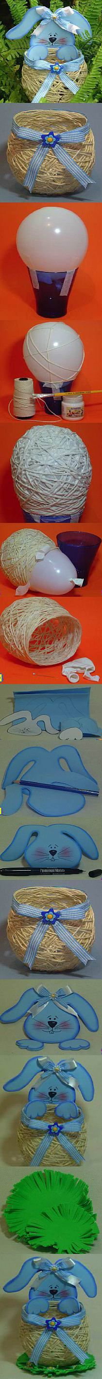 Easter is around the corner ! Here is a super cute idea to make a yarn DIY string Easter basket. The secret is using a balloon. Easter Party, Easter Gift, Happy Easter, Easter Bunny, Easter Eggs, Easter Projects, Easter Crafts, Spring Crafts, Holiday Crafts