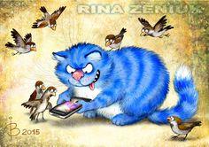 Посмотреть иллюстрацию Рина З. - Маленький котик нашёл телефон....