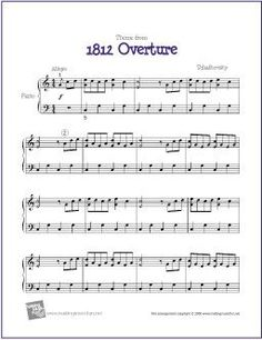Theme from 1812 Overture (Tchaikovsky) | Free Sheet Music for Piano - http://makingmusicfun.net/htm/f_printit_free_printable_sheet_music/eighteen-twelve-overture-for-piano-solo.htm (Scheduled via TrafficWonker.com)