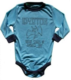 Rowdy Sprout Baby Infant Led Zeppelin Onesie 3-6m Turquoise/Black Super Soft Fabric. Printed Label To Avoid Scratchy Tags. Made In California. #Rowdy_Sprout #Baby_Product