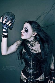 Photographer: Chris Paul edited by me black metal barbie Black Metal, Black Art, Goth Beauty, Dark Beauty, Steampunk, Girls Twitter, Gothic Metal, Rocker Chick, Rocker Style