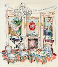 Sketch of a room from the Musée Nissim de Camondo.  Happy Menocal
