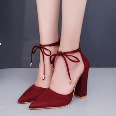 plardin 7 Colors Pointed Strappy Pumps Sexy Retro High Thick Heels Shoes 2108 New Woman Shoes Female Lace Up Shoes Woman Sandals Chunky Heel Pumps, Chunky High Heels, Thick Heels, Black High Heels, Low Heels, Dr Shoes, Shoes Heels, Shoes Jordans, Louboutin Shoes