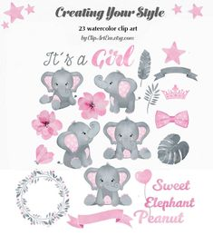 Baby Elephant Girl Clip Art cute little girl peanut in pink Elephant Baby Showers, Baby Elephant, Elephant Images, Boho Baby Shower, Girl Shower, Baby Frame, Girls Clips, Baby Journal, Baby Clip Art
