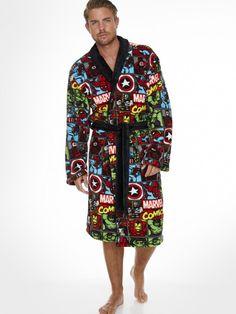 Marvel Superheroes Repeat Pattern Adult Fleece Bathrobe
