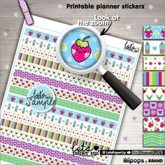 Washi Tape, Printable Planner Stickers, Strawberry Stickers, Erin Condren, Kawaii Stickers, Life Planner, Planner Accessories, Cute Sticker