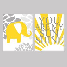 Sunshine Elephant - Set of Two 8x10 Prints - You Are My Sunshine and Floral Elephant - Yellow, Gray, Black, Pink, Blue, and More. $39.50, via Etsy.
