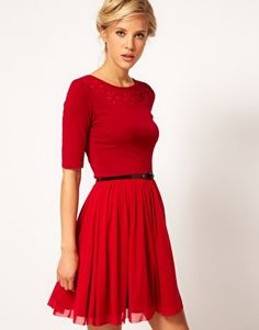 Enlarge ASOS Skater Dress With Daisy Cutwork And Belt